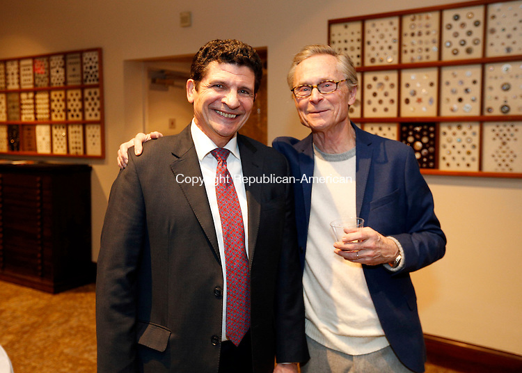 Waterbury, CT- 22 January 2016-012216CM15-  Social Moments, from left to right, David Sfara, of Farmington and Ed Schuler of Litchfield are photographed during the Mattatuck Museum's opening celebration for it's new exhibitions in Waterbury on Friday.   Christopher Massa Republican-American