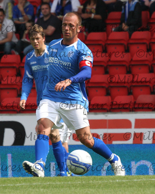 Jody Morris passing the ball in the St Johnstone v Rangers Scottish Premier League match played at McDiarmid Park, Perth on 30.7.11.