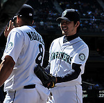 (R-L) Hisashi Iwakuma, Kendrys Morales (Mariners),<br /> JUNE 5, 2013 - MLB :<br /> Hisashi Iwakuma and Kendrys Morales of the Seattle Mariners during the baseball game against the Chicago White Sox at Safeco Field in Seattle, Washington, United States. (Photo by AFLO)