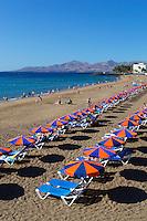 Spain, Canary Island, Lanzarote, Puerto del Carmen: view over Playa Grande | Spanien, Kanarische Inseln, Lanzarote, Puerto del Carmen: Playa Grande