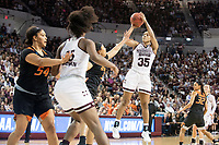 Mississippi State senior Victoria Vivians shoots over an Oklahoma State defender on Monday [March 19] during the Bulldogs' 71-56 win in NCAA Tournament second round action. With the win, the Bulldogs will advance to the Sweet 16 for the third consecutive year. They will face North Carolina State at 6 p.m. on Friday in Kansas City. <br />