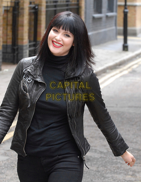 "GEMMA ARTERTON .On the set of ""St Trinian's: The Legend of Fritton's Gold"" (St Trinian's 2), London, England..July 8th, 2009.half length black leather jacket red lipstick top.CAP/IA.©Ian Allis/Capital Pictures."