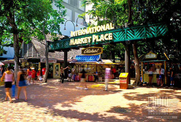 The International Marketplace is a shoppers paradise offering a variety of gifts from aloha attire to jewelry.  Located along Kalakaua ave. in Waikiki.