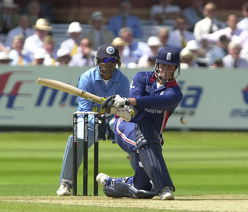 Photo Peter Spurrier.13/07/2002.Sport - Cricket -NatWest Series Final- Lords.England vs India.Marcus Trescothick playing the sweep