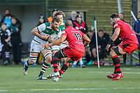 Match action during the Greene King IPA Championship match between Ealing Trailfinders and Jersey Reds at Castle Bar , West Ealing , England  on 22 December 2018. Photo by David Horn.