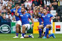Samoa replacement Jack Lam performs the Manu Siva Tau - Mandatory byline: Rogan Thomson - 03/10/2015 - RUGBY UNION - Stadium:mk - Milton Keynes, England - Samoa v Japan - Rugby World Cup 2015 Pool B.