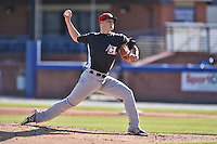 Hickory Crawdads starting pitcher Collin Wiles (11) delivers a pitch during game one of a double header against the Asheville Tourists on April 21, 2015 in Asheville, North Carolina. The Crawdads defeated the Tourists 10-1. (Tony Farlow/Four Seam Images)