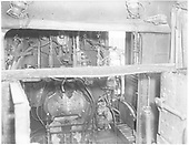 Detail of fire box in K-36 #483?  Cab interior with fire box door.<br /> D&amp;RGW  Durango, CO  Taken by Payne, Andy M. - 4/6/1964