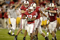 4 November 2006: Nick Sanchez, Carlos McFall, Brandon Harrison and Tom McAndrew during Stanford's 42-0 loss to USC at Stanford Stadium in Stanford, CA.