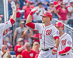 30 August 2015: Washington Nationals first baseman Clint Robinson celebrates his  pinch hit, two-run homer in the 6th inning against the Miami Marlins at Nationals Park in Washington, DC. The Nationals rallied to defeat the Marlins 7-4 in the third game of their 3-game weekend series. Mandatory Credit: Ed Wolfstein Photo *** RAW (NEF) Image File Available ***
