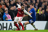 Arsenal's Alexandre Lacazette holds off the challenge from Chelsea's Cesar Azpilicueta <br /> <br /> Photographer Craig Mercer/CameraSport<br /> <br /> The Carabao Cup - Semi-Final 1st Leg - Chelsea v Arsenal - Wednesday 10th January 2018 - Stamford Bridge - London<br />  <br /> World Copyright &copy; 2018 CameraSport. All rights reserved. 43 Linden Ave. Countesthorpe. Leicester. England. LE8 5PG - Tel: +44 (0) 116 277 4147 - admin@camerasport.com - www.camerasport.com
