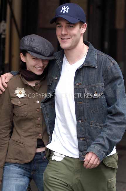 James Van Der Beek with girlfriend spotted strolling together in SoHo, New York, May 9, 2003. Please byline: NY Photo Press.   ..*PAY-PER-USE*      ....NY Photo Press:  ..phone (646) 267-6913;   ..e-mail: info@nyphotopress.com