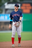 Lowell Spinners third baseman Korby Batesole (12) during a game against the Batavia Muckdogs on July 15, 2018 at Dwyer Stadium in Batavia, New York.  Lowell defeated Batavia 6-2.  (Mike Janes/Four Seam Images)