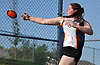 Austyn Durham of Great Neck North makes a discus throw of 120 feet during the Nassau County AA track & field championship at MacArthur High School on Wednesday, May 23, 2018. She won the girls' competition in the event.