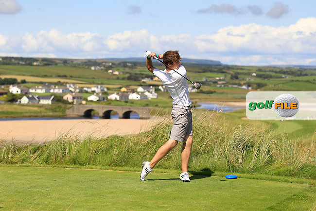Darragh Hogan on the 9th tee during Round 1 of The South of Ireland in Lahinch Golf Club on Saturday 26th July 2014.<br /> Picture:  Thos Caffrey / www.golffile.ie
