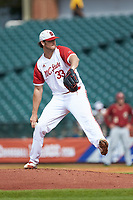 North Carolina State Wolfpack starting pitcher Johnny Piedmonte (33) in action against the Boston College Eagles in Game Two of the 2017 ACC Baseball Championship at Louisville Slugger Field on May 23, 2017 in Louisville, Kentucky. The Wolfpack defeated the Eagles 6-1. (Brian Westerholt/Four Seam Images)