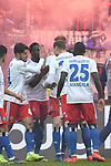10.03.2019,  GER; 2. FBL, FC St. Pauli vs Hamburger SV ,DFL REGULATIONS PROHIBIT ANY USE OF PHOTOGRAPHS AS IMAGE SEQUENCES AND/OR QUASI-VIDEO, im Bild Khaled Narey (Hamburg #07) schiesst das 2-0 fuer Hamburg und jubelt mit der Mannschaft Foto © nordphoto / Witke
