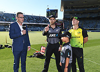 Captains Kane Williamson and David Warn with the ANZ coin toss winner. New Zealand Black Caps v Australia.Tri-Series International Twenty20 cricket. Eden Park, Auckland, New Zealand. Friday 16 February 2018. © Copyright Photo: Andrew Cornaga / www.Photosport.nz