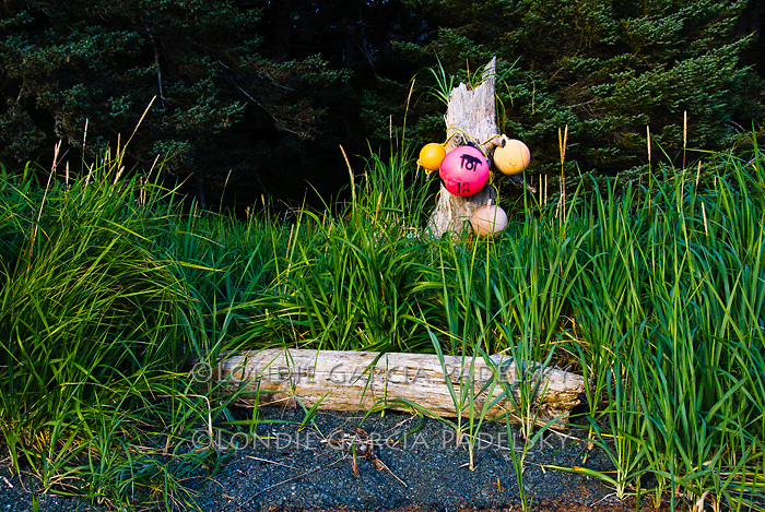 Floats used as cabin markers at Neketa Bay, Shuyak Island. Shuyak Island State Park, .Alaska