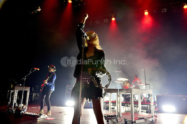 MIAMI BEACH, FL - NOVEMBER 02: Emily Haines of Metric performs onstage at the Fillmore Miami Beach on November 2, 2015 in Miami Beach, Florida. Credit: MPI10 / MediaPunch