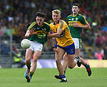 Cian Gammell of Kerry in action against Ryan O'Neill of Kerry during their Minor Munster final at Killarney.  Photograph by John Kelly.