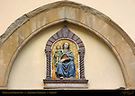 Madonna and Child Lunette Tin-glazed Polychrome Terracotta della Robbia Florence