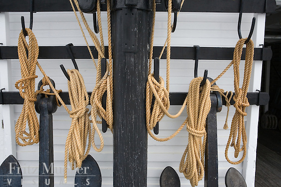 Detail of ropes at the S.S. Klondike National Historic Site in Whitehorse