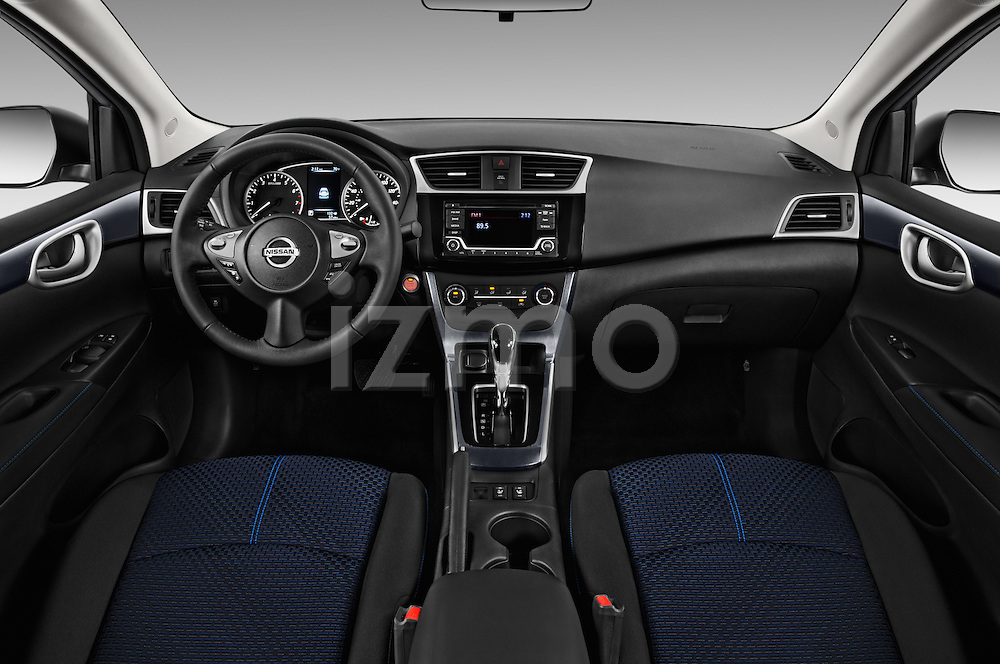 Stock photo of straight dashboard view of 2017 Nissan Sentra SR 4 Door Sedan Dashboard