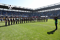 San Jose, CA - Sunday October 21, 2018: Halftime during a Major League Soccer (MLS) match between the San Jose Earthquakes and the Colorado Rapids at Avaya Stadium.