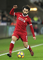 Mohamed Salah of Liverpool during the Premier League match between Swansea City and Liverpool at the Liberty Stadium, Swansea, Wales on 22 January 2018. Photo by Mark Hawkins / PRiME Media Images.