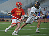 Kieran Laurie #10 of Chaminade, left, gets pressured by Gregory Campisi #21 of St. Anthony's during the Nassau-Suffolk CHSAA varsity boys lacrosse Class AA final at Mitchel Athletic Complex on Tuesday, May 15, 2018. The game went to halftme tied 8-8 when a prolonged lightning storm forced a postponement.
