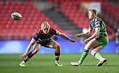 23rd March 2018, Ashton Gate, Bristol, England; RFU Rugby Championship, Bristol versus Yorkshire Carnegie; Callum Irvine of Yorkshire Carnegie passes watched by Dan Thomas of Bristol