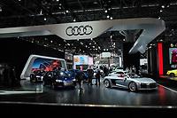 NEW YORK, NY - APRIL 12: Audi cars sit on display at the New York International Auto Show, at the Jacob K. Javits Convention Center on April 12, 2017 in Manhattan, New York. Photo by VIEWpress/Eduardo MunozAlvarez