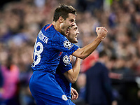 27th November 2019; Mestalla, Valencia, Spain; UEFA Champions League Footballl,Valencia versus Chelsea; Mateo Kovacic of Chelsea celebrates with Cesar Azpilicueta of Chelsea after scoring the equalizer goal for his team (1-1) in minute 41' - Editorial Use