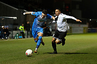 Brad Barry (L) of Barrow takes on Aaron Simpson during Dover Athletic vs Barrow, Vanarama National League Football at the Crabble Athletic Ground on 4th February 2020