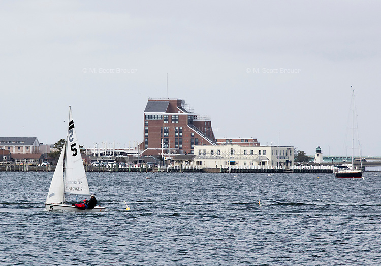 Gurney's Newport Resort and Marina (tall building at rear), which was formerly a Hyatt Regency hotel, can be seen on Goat Island in Newport, Rhode Island, on Wed., April 19, 2017. The entire hotel will be renewed with an approximately $18 million renovation to be completed by Memorial Day 2017. The brick exterior will be painted to give the building a more modern look.