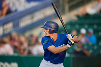 James Outman (47) of the Ogden Raptors bats against the Great Falls Voyagers at Lindquist Field on August 21, 2018 in Ogden, Utah. Great Falls defeated Ogden 14-5. (Stephen Smith/Four Seam Images)