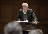 """Strobe Talbott, president of the Brookings Institution, lectures on, """"Vladimir Putin vs the 21st Century: How the Last Month Has Made Global Governance Harder"""" in Choi Auditorium on April 22, 2014. The talk was presented by The McKinnon Center for Global Affairs and the Young Initiative on the Global Economy. (Photo by Marc Campos, Occidental College Photographer)"""