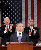United States President Barack Obama is applauded by House Speaker John Boehner of Ohio and Vice President Joe Biden while delivering his State of the Union address on Capitol Hill in Washington, Tuesday, Jan. 25, 2011..Credit: Pablo Martinez Monsivais / Pool via CNP