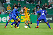 26th March 2018, nib Stadium, Perth, Australia; Womens International football friendly, Australia Women versus Thailand Women; Alex Chidiac of the Matildas weaves between Thailand opponents during the second half