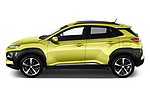 Car driver side profile view of a 2018 Hyundai Kona Luxury Launch 5 Door SUV