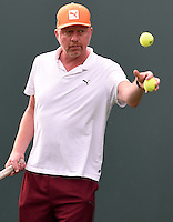 KEY BISCAYNE, FL - MARCH 28: Novak Djokovic of Serbia practices with coach Boris Becker during Day 6 of the Miami Open at Crandon Park Tennis Center on March 28, 2015 in Key Biscayne, Florida<br /> <br /> <br /> People:  Boris Becker<br /> <br /> Transmission Ref:  FLXX<br /> <br /> Must call if interested<br /> Michael Storms<br /> Storms Media Group Inc.<br /> 305-632-3400 - Cell<br /> 305-513-5783 - Fax<br /> MikeStorm@aol.com