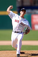Pitcher Michael Bowden #23 of the Pawtucket Red Sox during a game versus the Toledo Mud Hens on May 1, 2011 at McCoy Stadium in Pawtucket, Rhode Island. Photo by Ken Babbitt /Four Seam Images