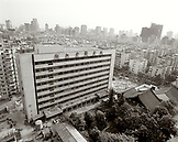 CHINA, Hangzhou, aerial view of the city in the afternoon (B&W)