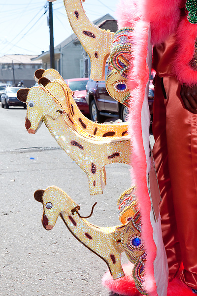 Detail of Jermaine Bossier's suit, the Big Chief of the 7th Ward Creole Hunters, in the Treme neighborhood of New Orleans on Mardi Gras day, February 16, 2010.