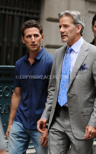 WWW.ACEPIXS.COM . . . . .  ....July 24 2009, New York City....Actors Mark Feuerstein (L) and Cambpell Scott on the Manhattan set of the new TV show 'Royal Pains' on July 24 2009 in New York City....Please byline: AJ Sokalner - ACEPIXS.COM..... *** ***..Ace Pictures, Inc:  ..tel: (212) 243 8787..e-mail: info@acepixs.com..web: http://www.acepixs.com