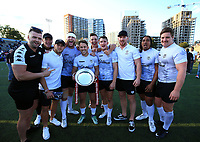 TORONTO, ON - SEPTEMBER 09:  Toronto Wolfpack players celebrate with the Championship 1 Promotion Trophy after victory over Barrow Raiders following a Kingstone Press League 1 Super 8s match at Lamport Stadium on September 9, 2017 in Toronto, Canada.  (Photo by Vaughn Ridley/SWpix.com)