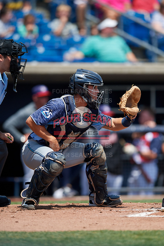 West Michigan Whitecaps catcher Brady Policelli (6) awaits the pitch during a game against the Quad Cities River Bandits on July 23, 2018 at Modern Woodmen Park in Davenport, Iowa.  Quad Cities defeated West Michigan 7-4.  (Mike Janes/Four Seam Images)