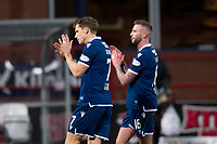 8th February 2020; Dens Park, Dundee, Scotland; Scottish Championship Football, Dundee versus Partick Thistle; Christophe Berra and Christie Elliott of Dundee applaud the fans at the end of the match