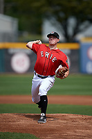 Erie SeaWolves starting pitcher Beau Burrows  (33) delivers a warmup pitch during a game against the Akron RubberDucks on August 27, 2017 at UPMC Park in Erie, Pennsylvania.  Akron defeated Erie 6-4.  (Mike Janes/Four Seam Images)